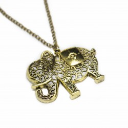 Women's fashion bronze long necklace with elephant pendant