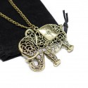 Women's fashion bronze long necklace with elephant pendant