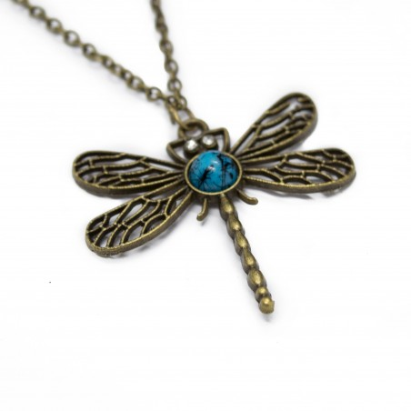 Women's fashion bronze long necklace with dragonfly pendant