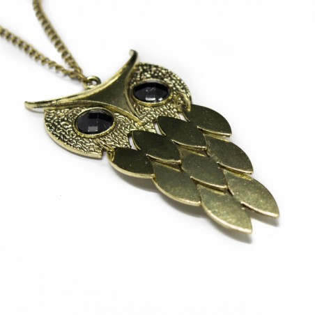 Women's fashion long necklace with golden owl pendant