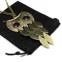 Collier sautoir fashion hibou pour femmes, avec des plumes dorées