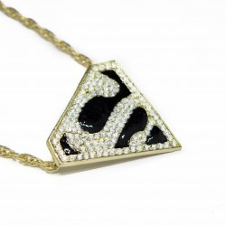 "Men's or women's Hip Hop Style Superman ""S"" Necklace New"