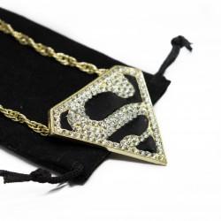 "Men's or women's Hip Hop Style Superman ""S"" Necklace New"