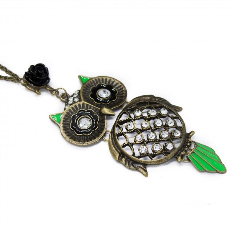 Collier sautoir avec un pendentif Hibou, avec plumes vertes pour femme