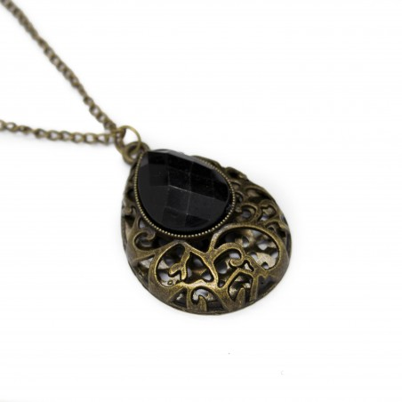 Women's long necklace with teardrop pendant
