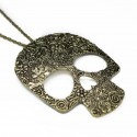 Women's long necklace with skull pendant
