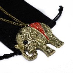 Women's long necklace with elephant pendant