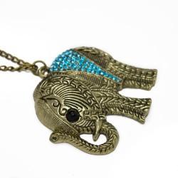 Women's long necklace with elephant pendant