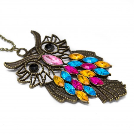 Women's long necklace with multicolored owl pendant