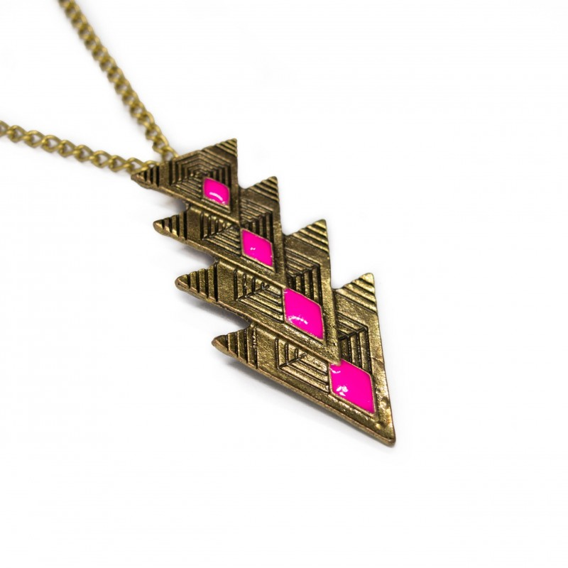Women's long necklace with 4 triangles pendant