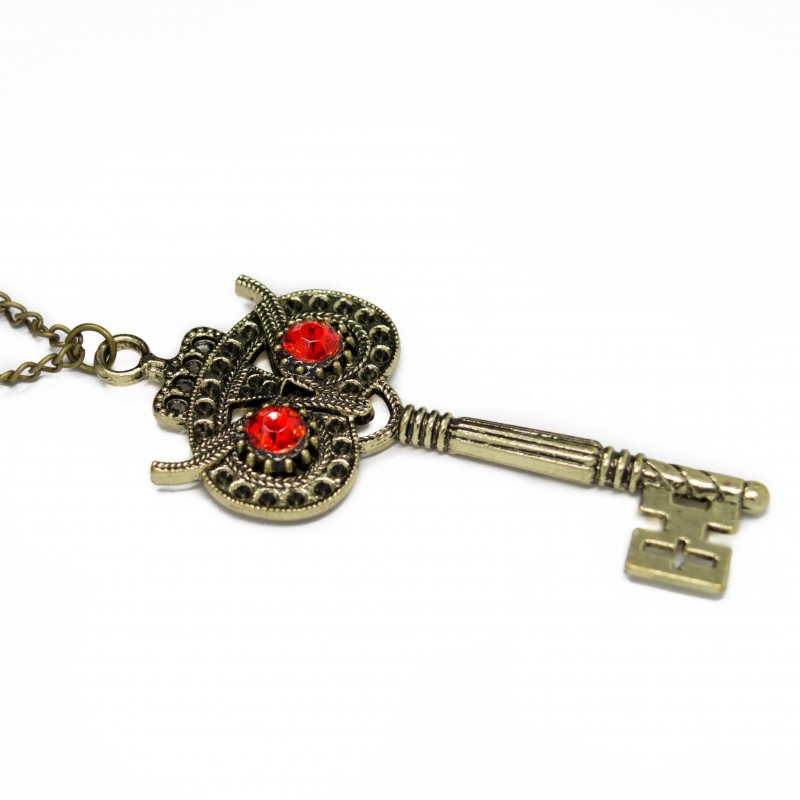 Women's long necklace with owl key pendant