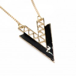 Women's long necklace with double V pendant
