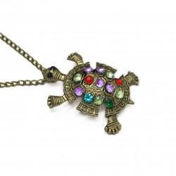 Collier Sautoir Tortue avec des pierres de couleur, pour femme