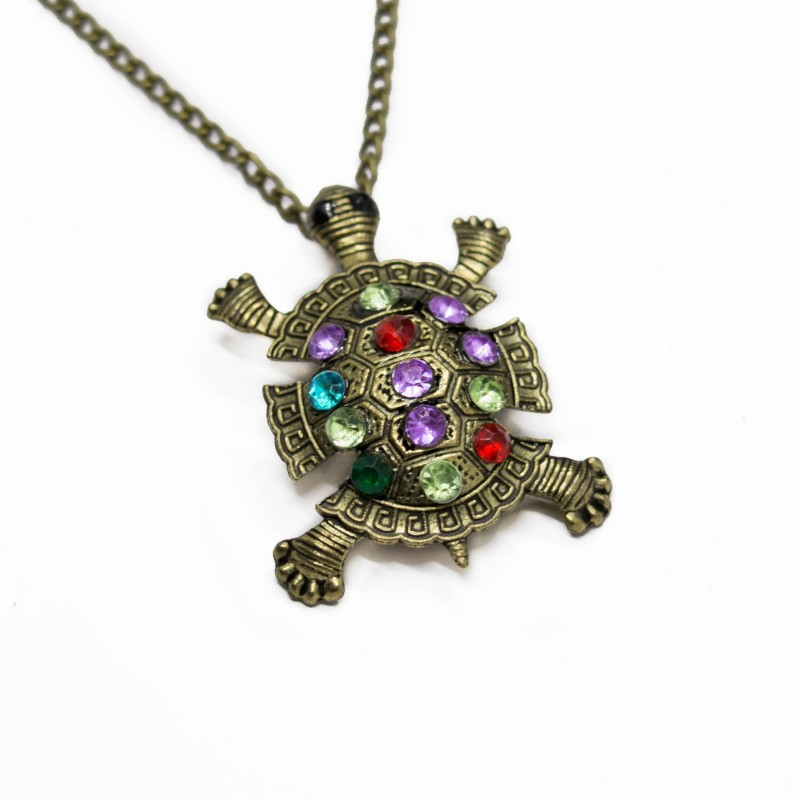 Women's long necklace with turtle pendant