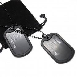 """Collier fashion noir """"Dog tag style"""", chaine militaire pour homme ou femme"""