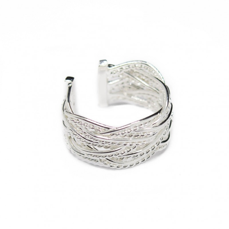 Women's adjustable silver weaved ring