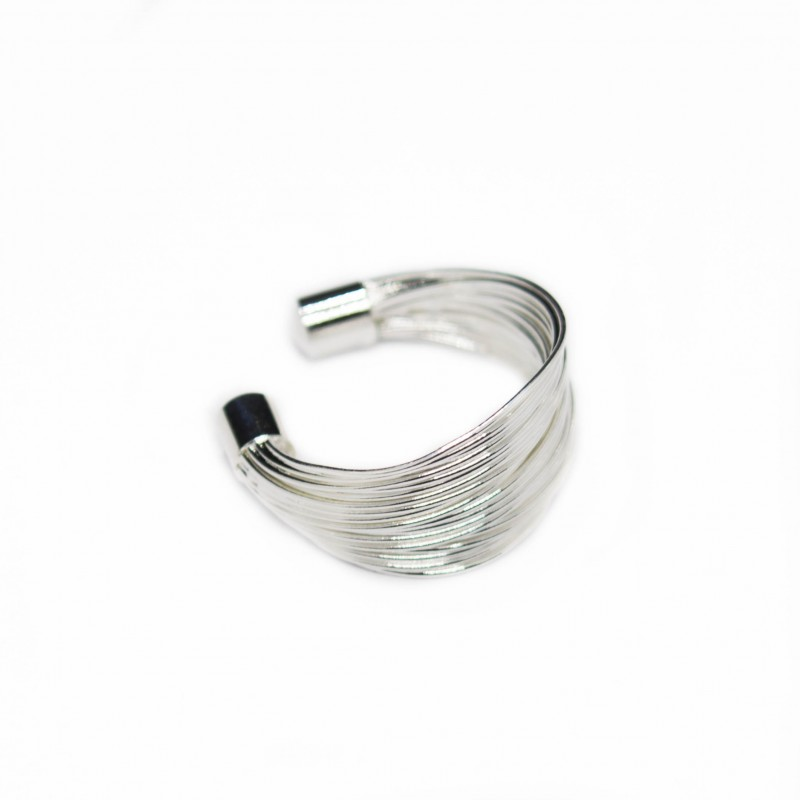 Women's adjustable silver multi wire ring