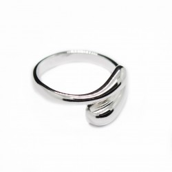 Women's adjustable silver droplet open ring