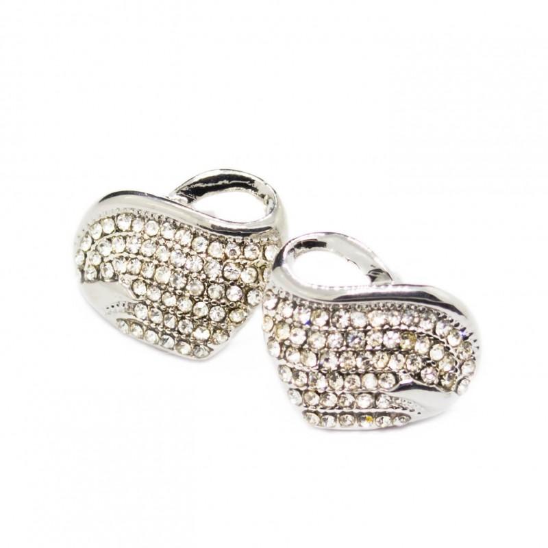 boucle d 39 oreilles c ur or blanc avec des pierres blanches pour femme. Black Bedroom Furniture Sets. Home Design Ideas