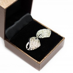 Women's white gold and white gems heart earrings