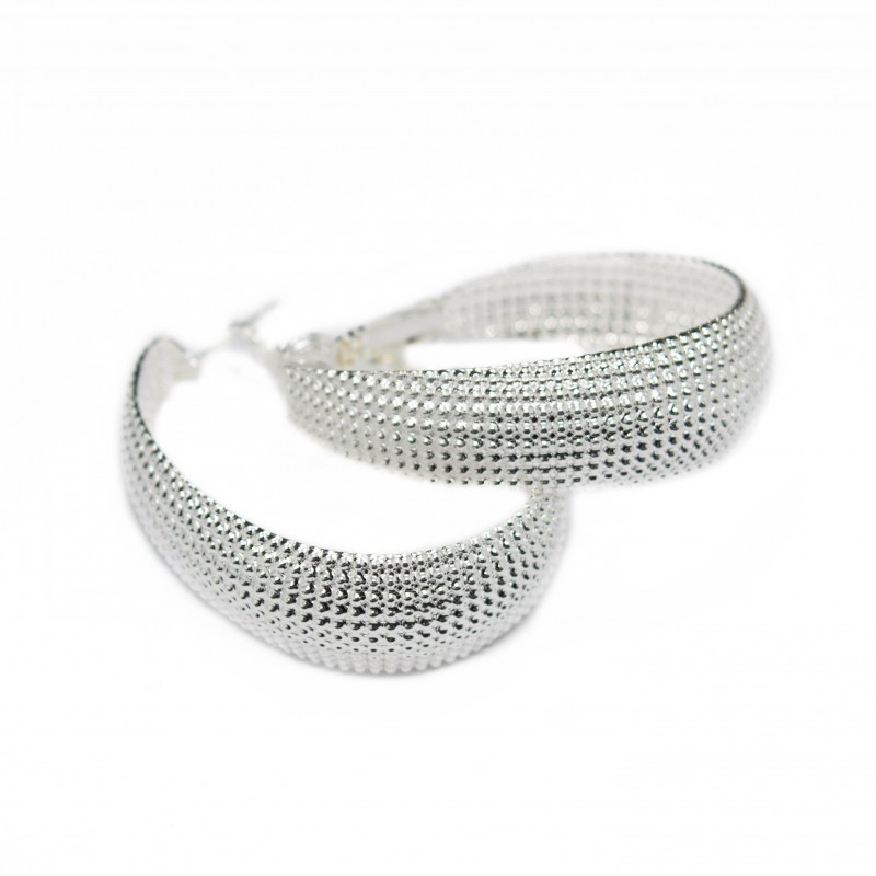 Women's silver wide hoop earrings