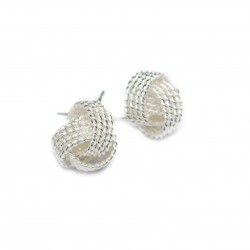 Women's silver threaded ball studs