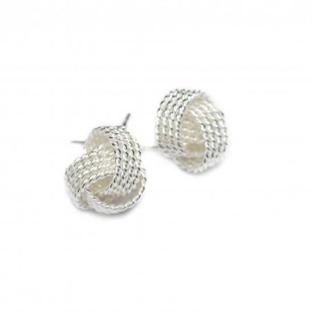 Women's silver threaded ball studs