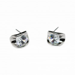 Men's or women's silver studs with a white gem