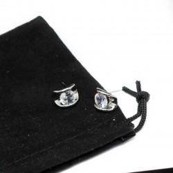 Clou d'oreilles argent, pour homme ou femme, avec une pierre blanche