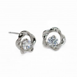 Women's silver flower stud earrings