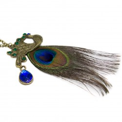 Women's long necklace with peacock pendant