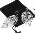 Boucle d'oreilles en argent pour femme, en forme de feuilles