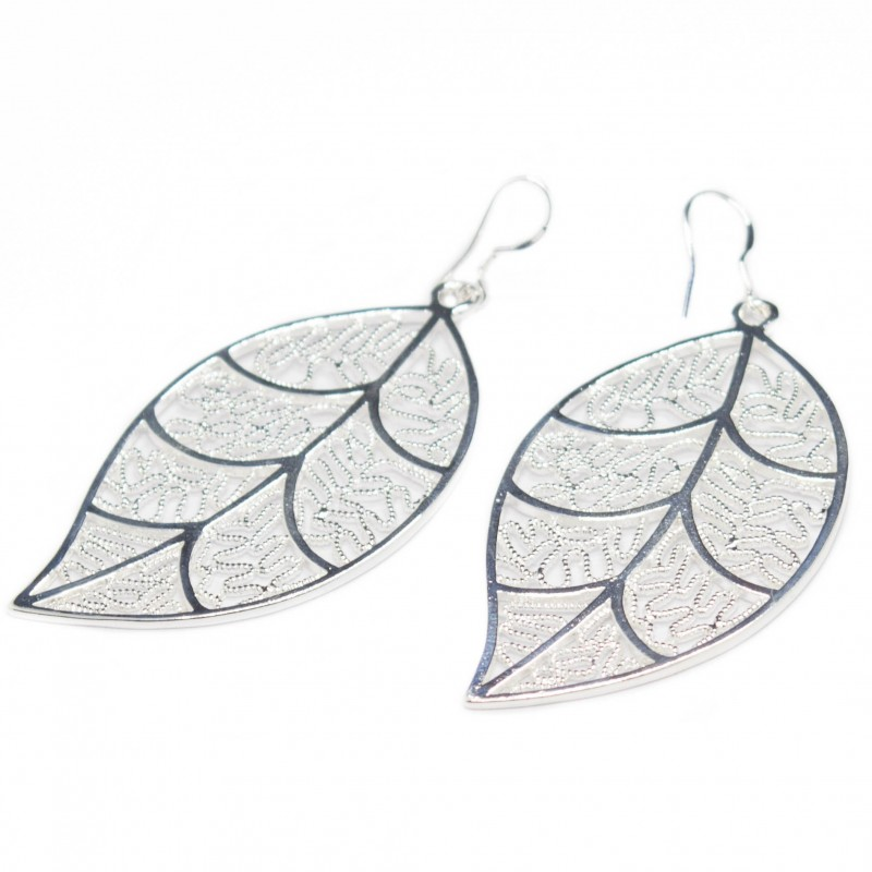 Women's silver leaf earrings