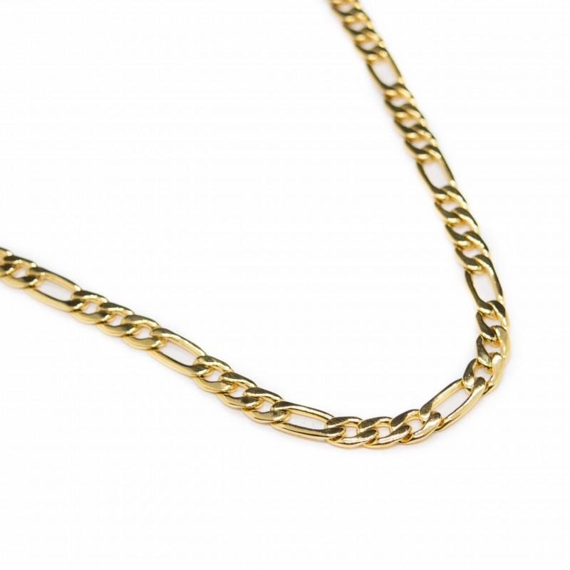 Chaine en maille figaro classique plaqué or, pour homme