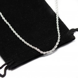 Men's or women's thin silver twisted chain necklace