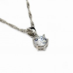 Women's twisted silver chain with a white gem pendant