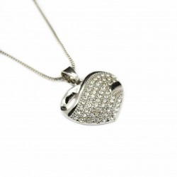 Women's white gold and white gems heart necklace