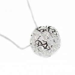 Women's thin silver chain necklace with big ball pendant
