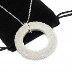 Collier pour femme en argent, avec un pendentif en cercle