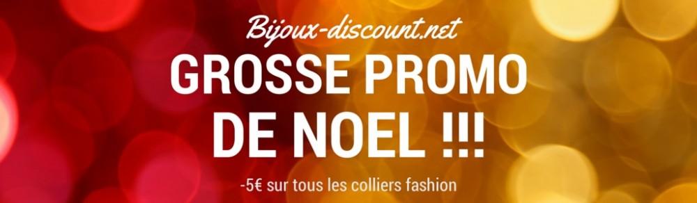 Promo de noël de 5€ sur les bijoux fashion sur le site bijoux-discount.net